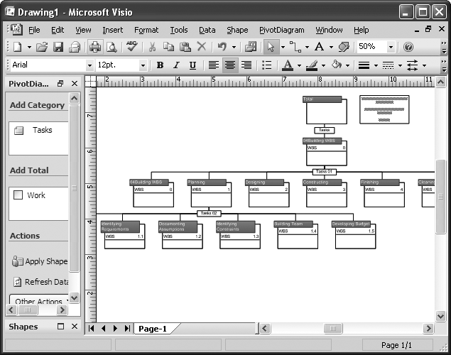 In Project 2007, visual reports can make project information easier to digest by displaying the data in Excel or Visio. This visual report using Visio takes the tasks in a Project file and displays them as a WBS tree structure. As you'll learn in , you can use other types of visual reports to decompose project information, for instance, or to analyze cost and schedule overruns to identify problems areas.