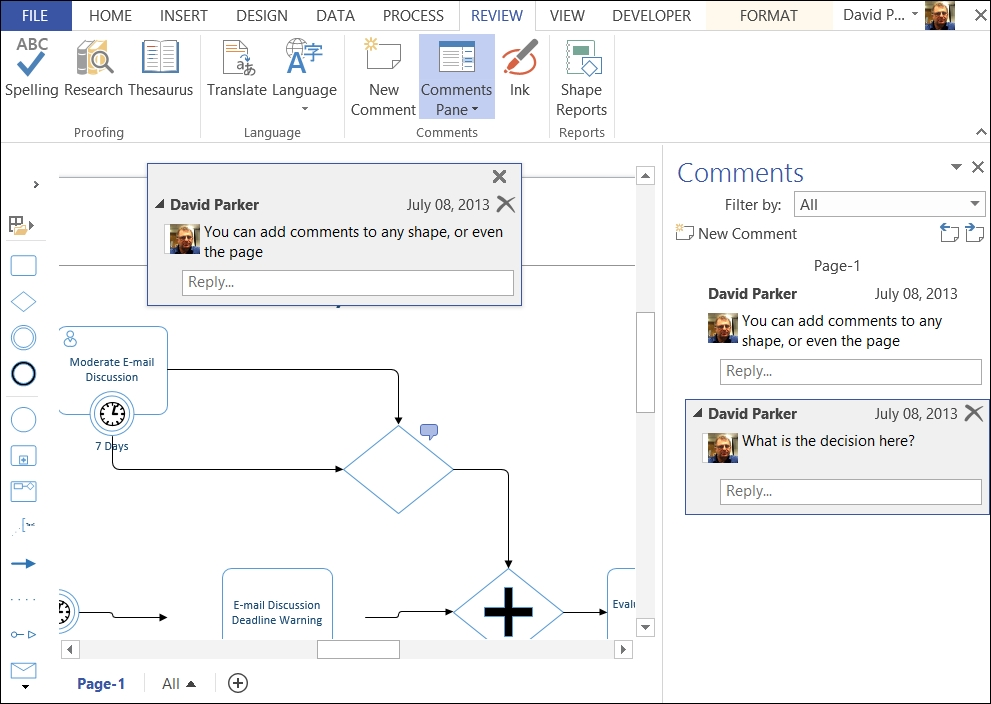 Annotating Visio Diagrams With Issues Microsoft Visio 2013