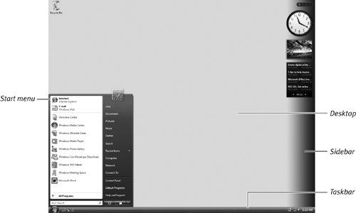Basic desktop elements. Your desktop may have a different background or icons, depending on your setup and regular use.