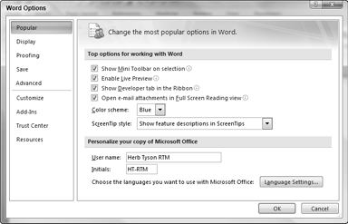 The Word Options dialog box is Central Command for controlling how Word goes about most of its business.