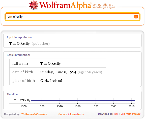 "Sample results for a ""tim o'reilly"" query with WolframAlpha"