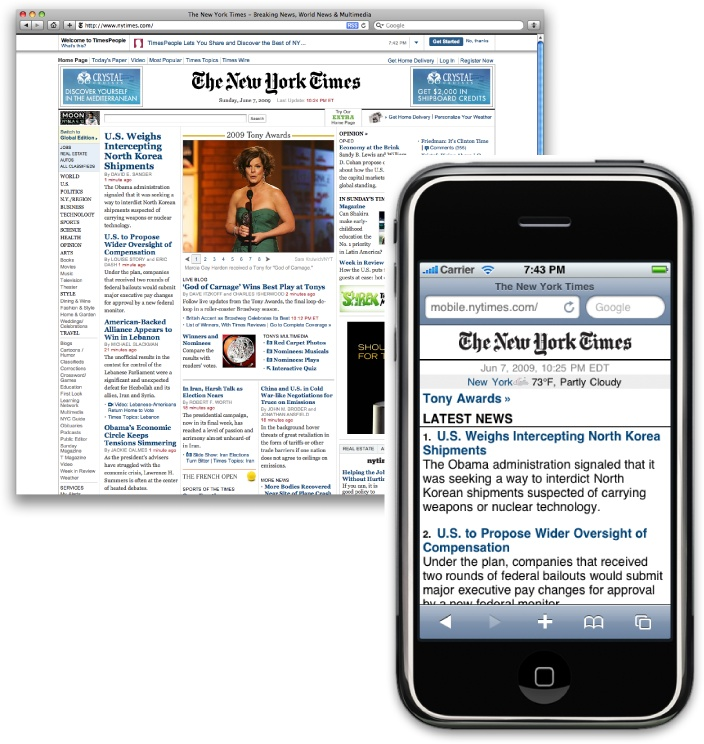Comparing the New York Times website in desktop and mobile browsers