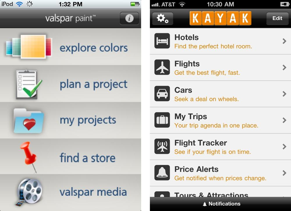 List menus: Valspar Paint and Kayak