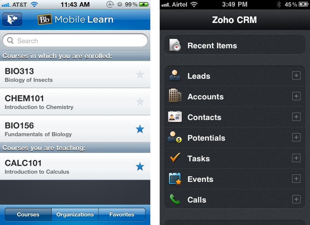 Personalized lists: Blackboard and Zoho CRM