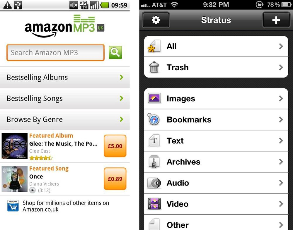 Enhanced list, Amazon MP3; grouped list, Stratus