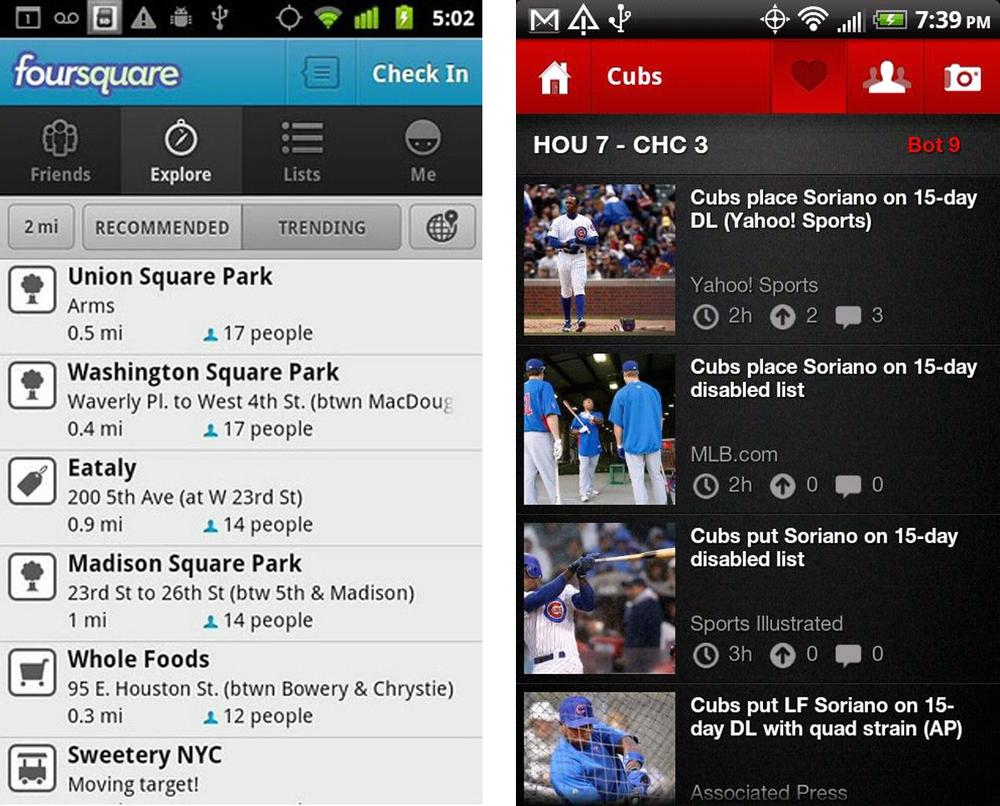 Foursquare and HitPost, top tabs