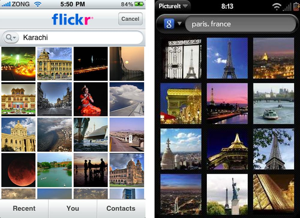 Flickr and PictureIt Palm
