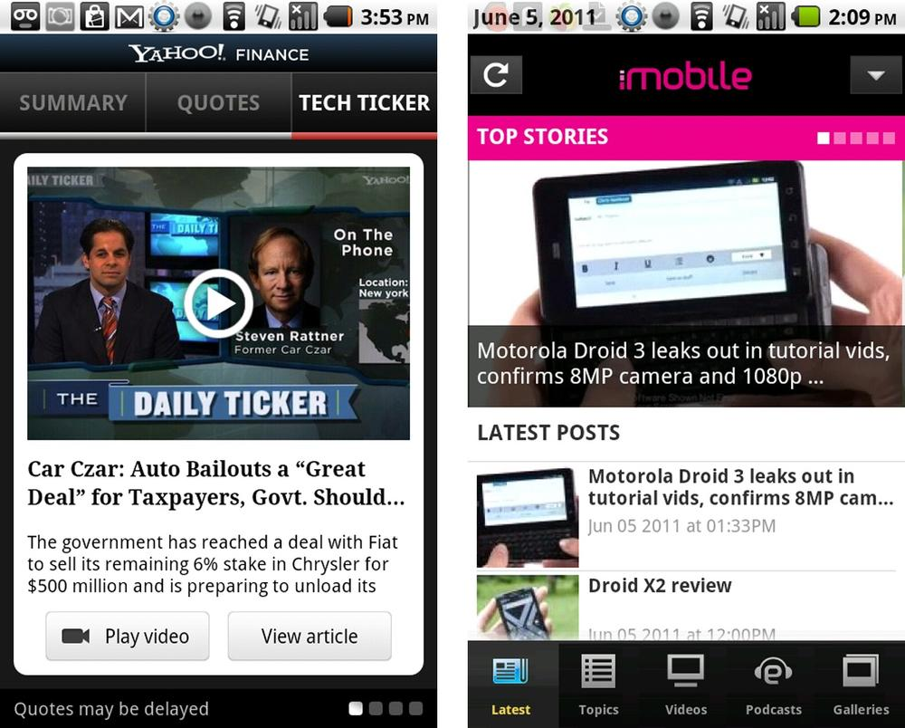 Yahoo! Finance and iMobile