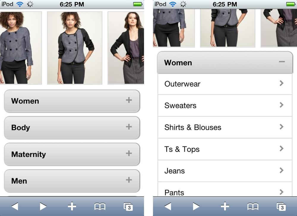Gap Mobile Website