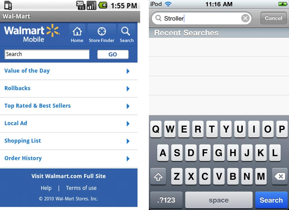 Walmart, search button on screen; Target, search button on keyboard