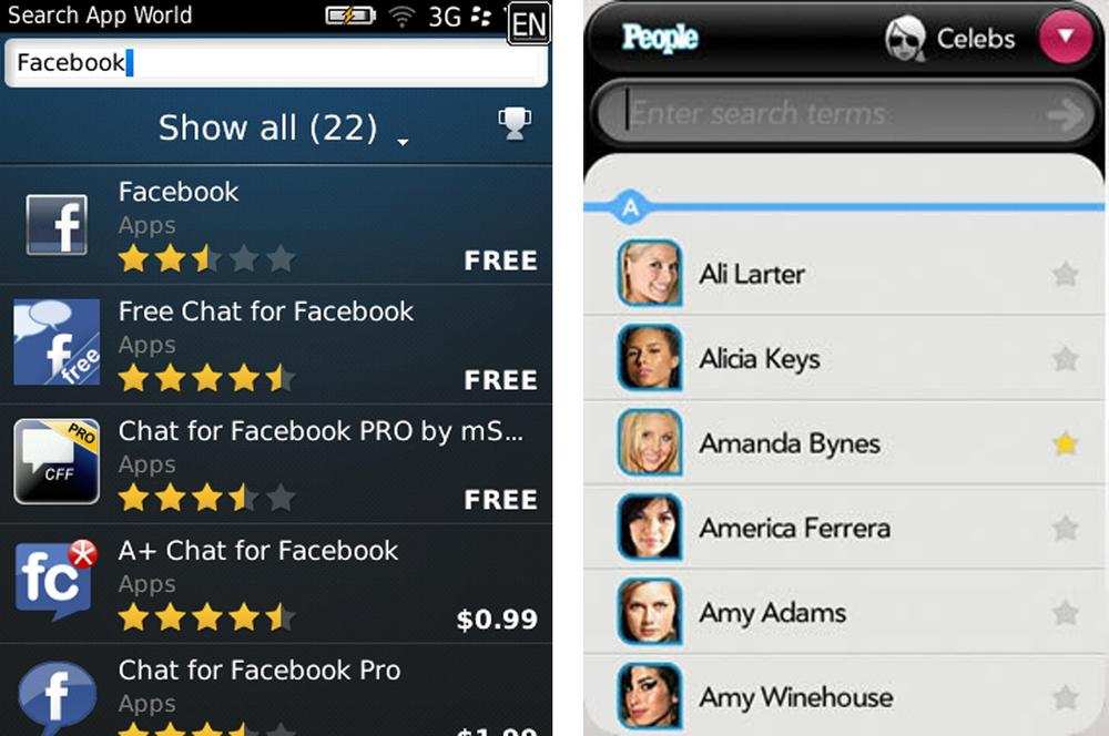 BlackBerry App World and People on WebOS