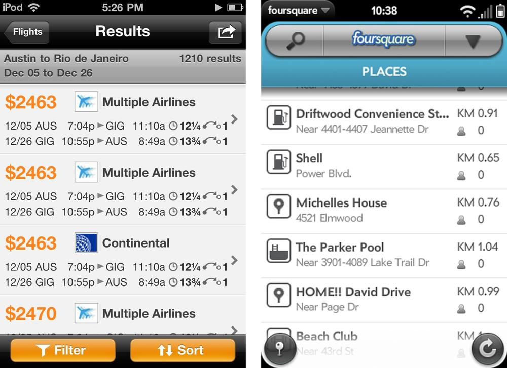 Results in a table: Kayak and Foursquare