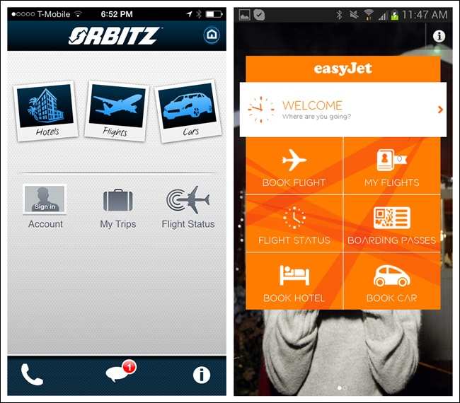 orbitz for ios and easyjet for android graphic treatment and layout imply a hierarchy
