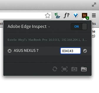 Adobe Edge Inspect connecting a Nexus 7 and Google Chrome for debugging