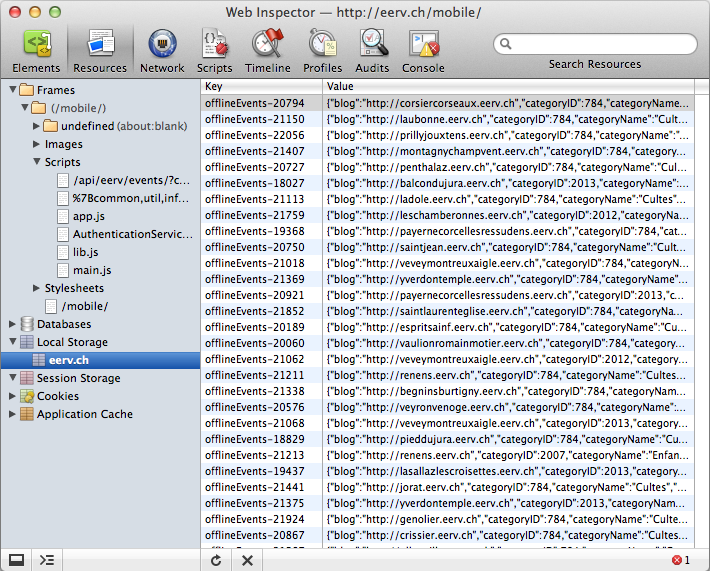 Inspecting the local storage in the WebKit inspector