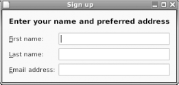 Signup window