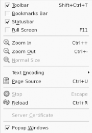 Check box menu items, taken from the Epiphany web browser
