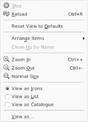 Radio button menu items, taken from the Nautilus file manager