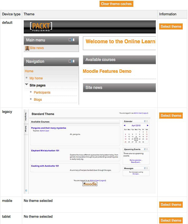 Selecting a Moodle theme