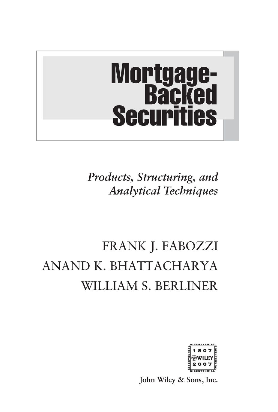 Analytical Learning title page - mortgage-backed securities: products