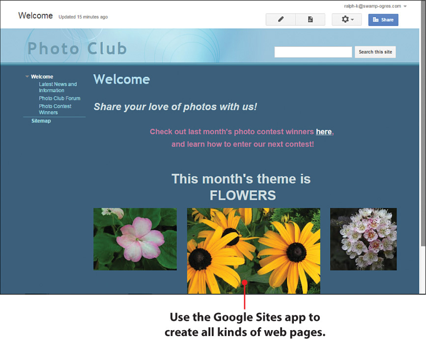 9. Creating Websites with Sites - My Google Apps, Second Edition
