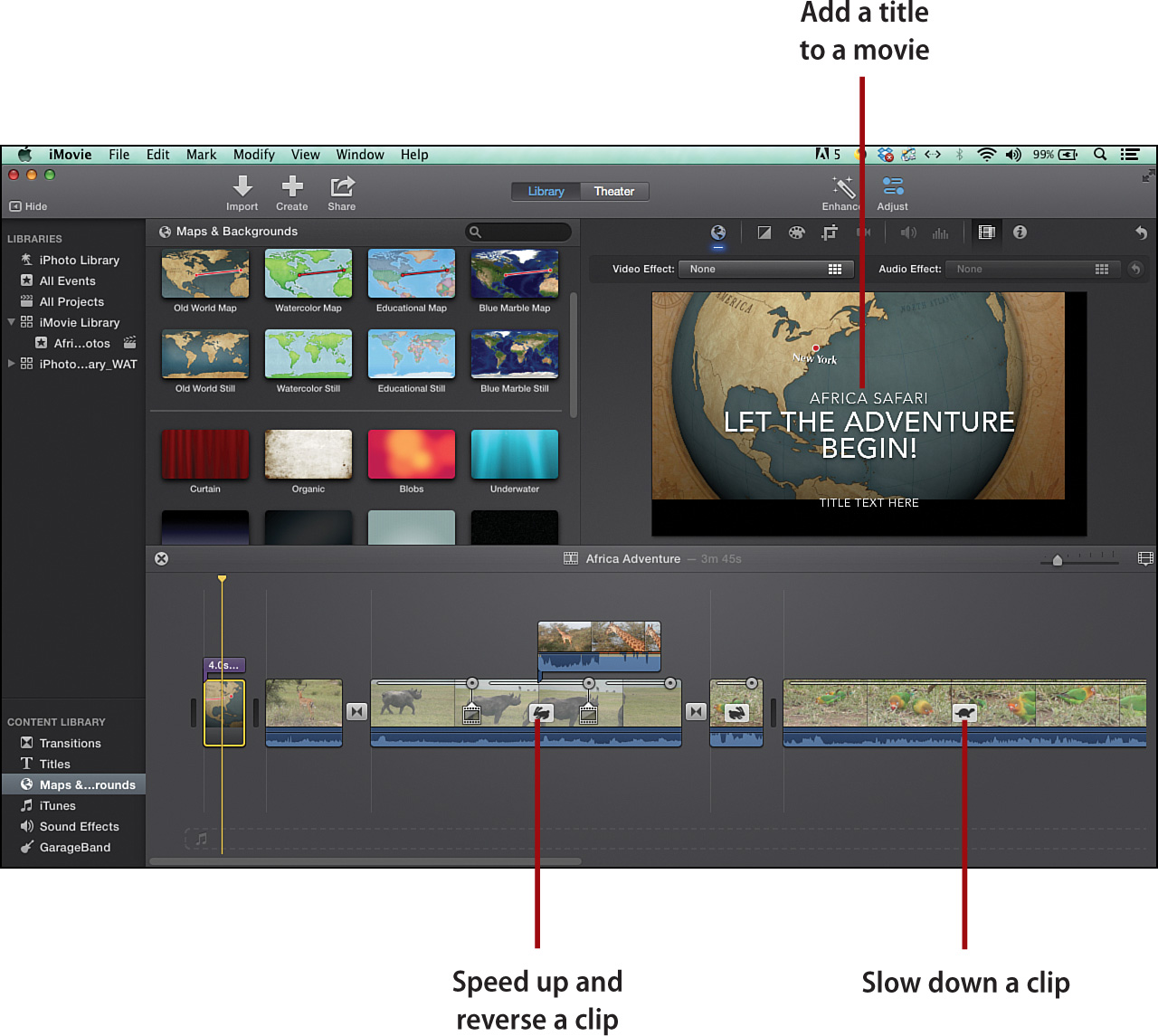 5  Adding Special Effects, Maps, Backgrounds, and Titles