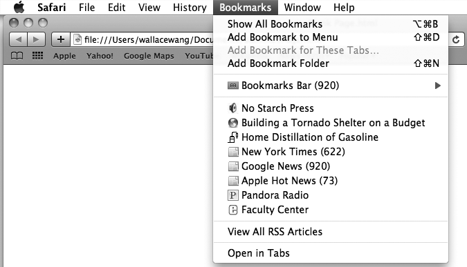 Bookmarks can appear in the Bookmarks Bar or Bookmarks menu.