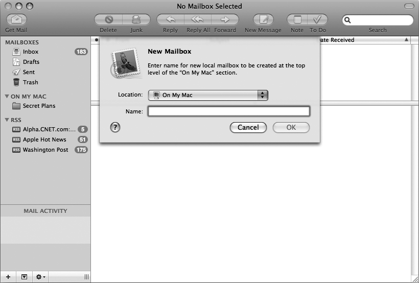 The New Mailbox dialog lets you create a descriptive name for your new mailbox folder.