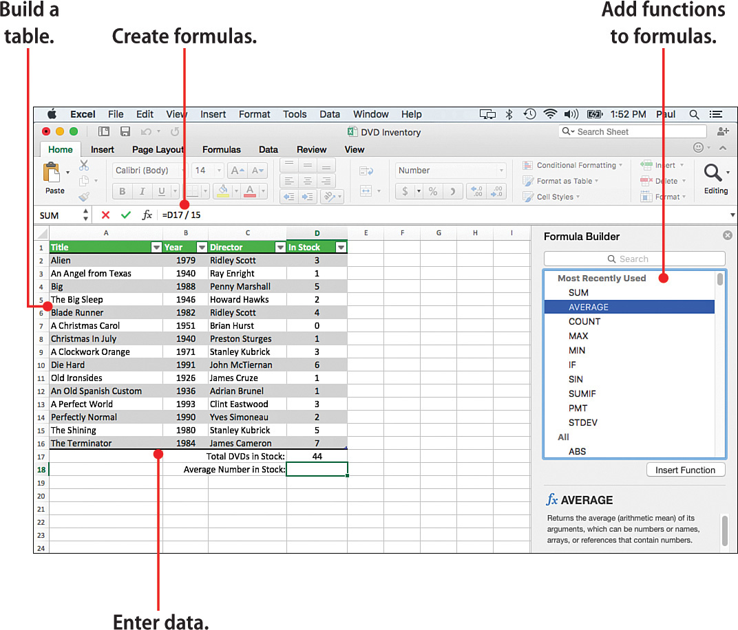 In this chapter, you learn about entering data into an Excel worksheet,  building formulas, working with functions, and storing data in tables.