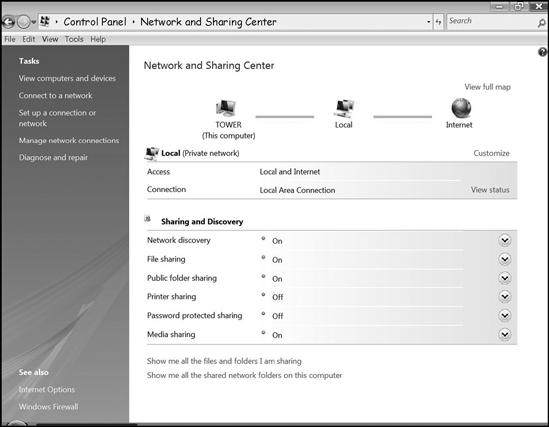The Network and Sharing Center controls many file-sharing functions.