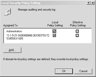 "Settings for the ""Manage auditing and security log"" user right"