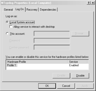 The Log On tab for the NTsyslog service Properties dialog
