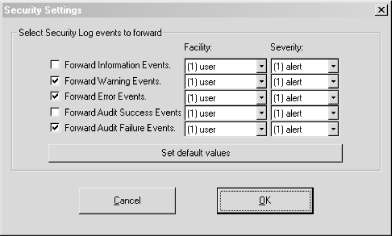 Mapping Security Event Log entries to syslog facilities and severities