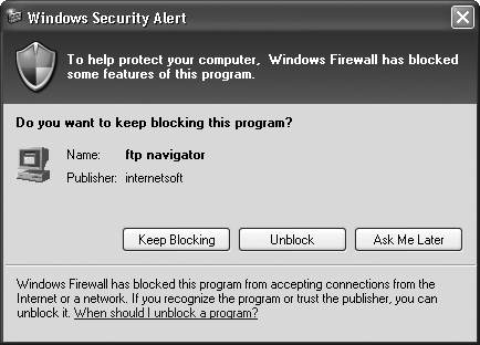 A warning from the Windows Firewall