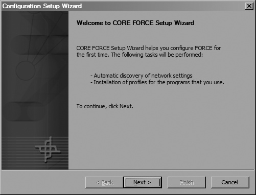 CORE FORCE's setup wizard