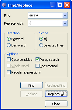 Eclipse PDT Find/Replace dialog box
