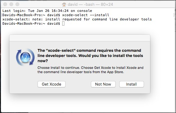 Installing developer tools on Mac OS X