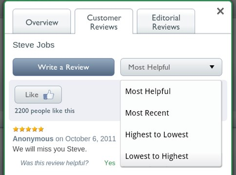 "Sort reviews by ""Most Helpful"""
