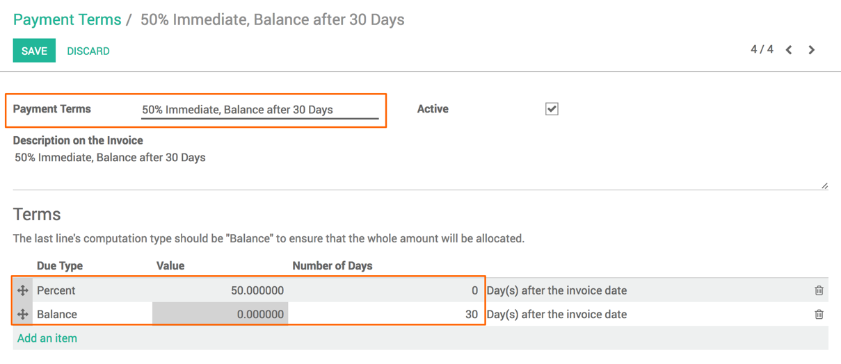 Payment Terms Odoo Implementation Cookbook Book - Invoice payment terms