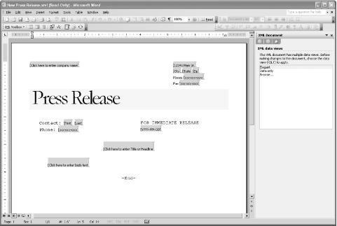 The initial editing view for creating new press release XML documents