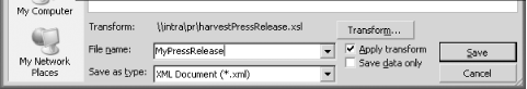 Saving the press release XML document