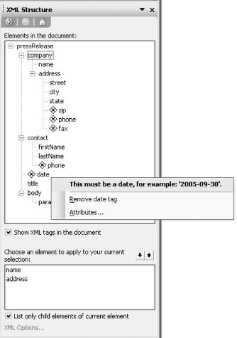 The XML Structure task pane