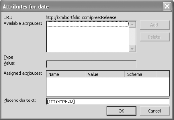 The Attributes dialog