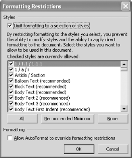 The Formatting Restrictions dialog