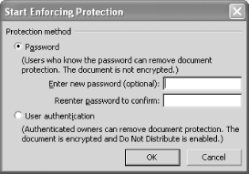Optional password for removing document protection
