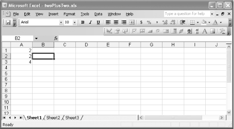 A simple spreadsheet for an initial test