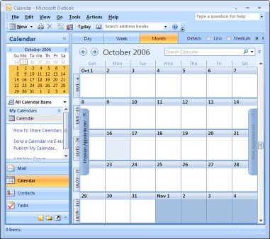 Figure 15-1: The monthly Calendar view in Outlook.