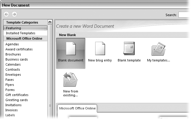 "Open the New Document box (Office button → New, or Alt+F, N), and Word gives you several ways to create a new document. Click ""Blank-document"" to open an empty document, similar to the one Word shows when you first start the program. Or you can click ""New from existing"" to open a document that you previously created under a new name."