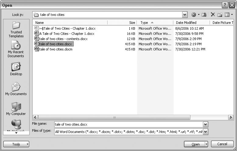 "This Open dialog box shows the contents of the tale of two cities folder, according to the ""Look in"" box at the top. As you can see in the ""File name box"" at the bottom of the window, the file tale of two cities.docx is selected. By clicking Open, Mr. Dickens is ready to go to work."
