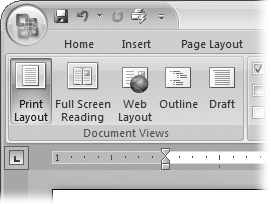 On the left side of the View tab, you find the five basic document views: Print Layout, Full Screen Reading, Web Layout, Outline, and Draft. You can edit your document in any of the views, although they come with different tools for different purposes. Outline view provides a menu that lets you show or hide headings at different outline levels.